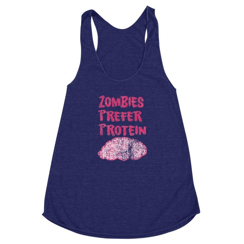 Vintage Zombies Prefer Protein Women's Racerback Triblend Tank by ericallen's Artist Shop