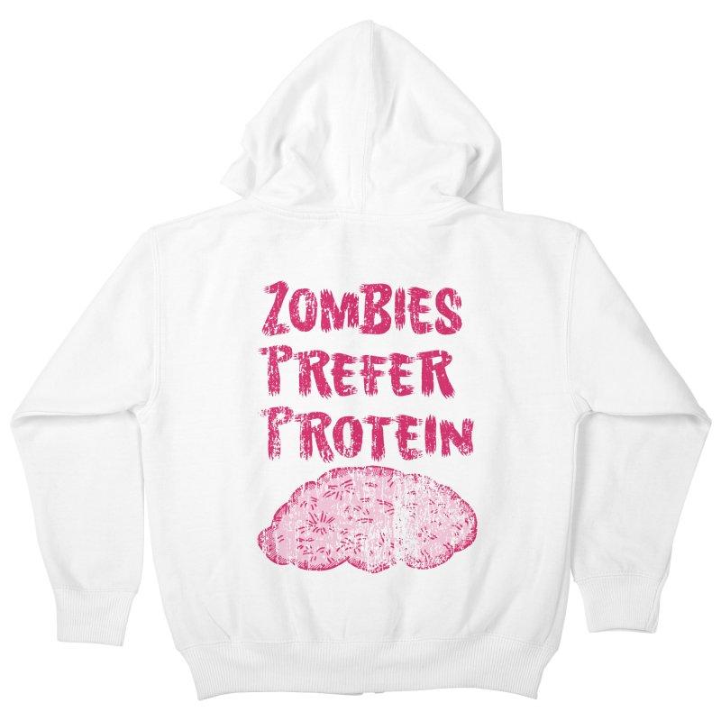 Vintage Zombies Prefer Protein Kids Zip-Up Hoody by ericallen's Artist Shop