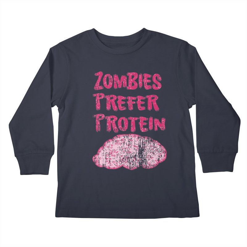 Vintage Zombies Prefer Protein Kids Longsleeve T-Shirt by ericallen's Artist Shop