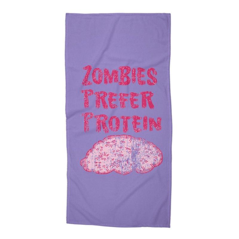 Vintage Zombies Prefer Protein Accessories Beach Towel by ericallen's Artist Shop