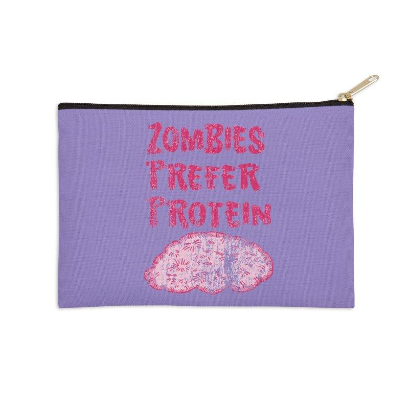 Vintage Zombies Prefer Protein Accessories Zip Pouch by ericallen's Artist Shop