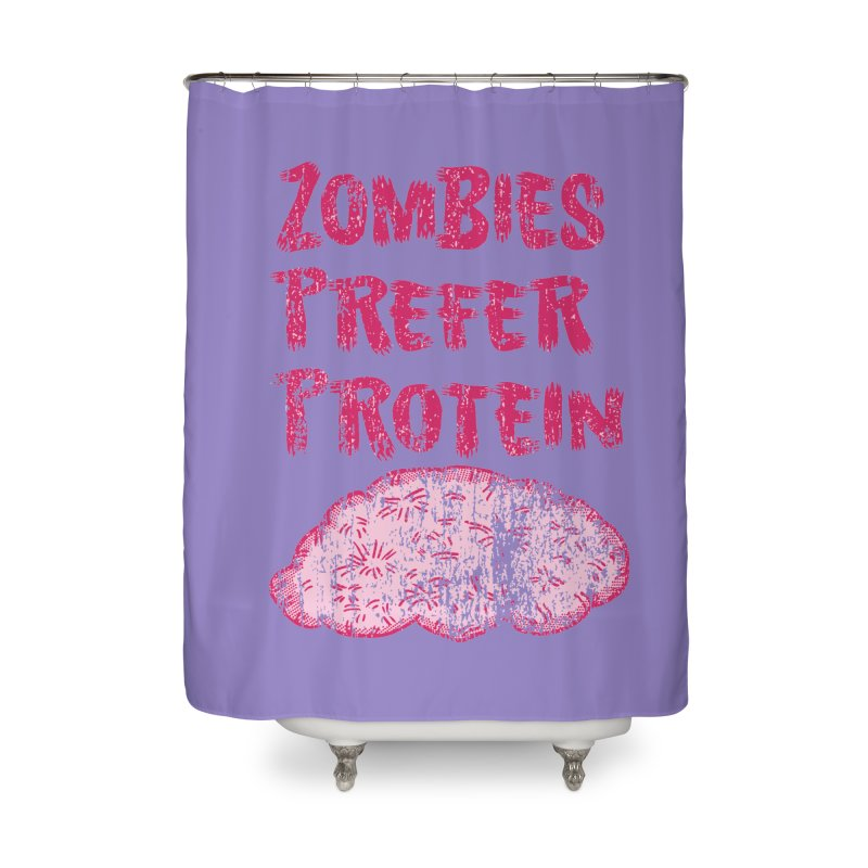 Vintage Zombies Prefer Protein Home Shower Curtain by ericallen's Artist Shop