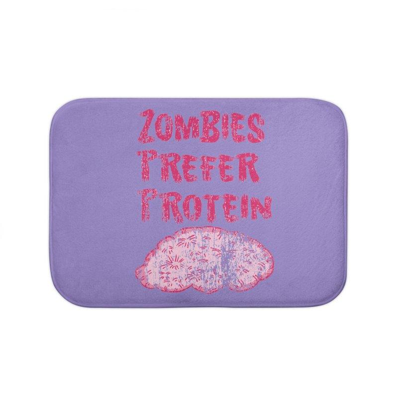 Vintage Zombies Prefer Protein Home Bath Mat by ericallen's Artist Shop
