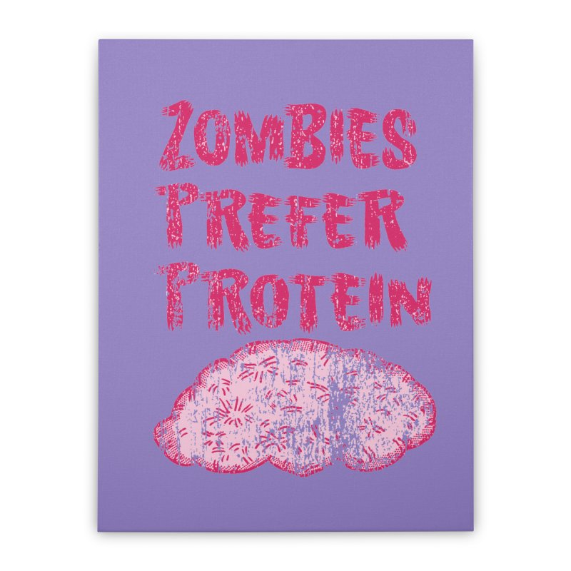 Vintage Zombies Prefer Protein Home Stretched Canvas by ericallen's Artist Shop