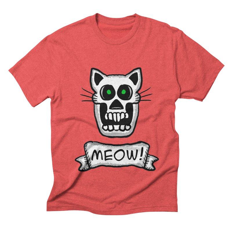 Cat Skull Men's Triblend T-shirt by ericallen's Artist Shop