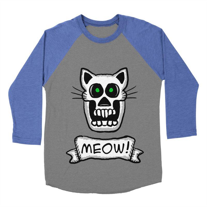 Cat Skull Men's Baseball Triblend T-Shirt by ericallen's Artist Shop
