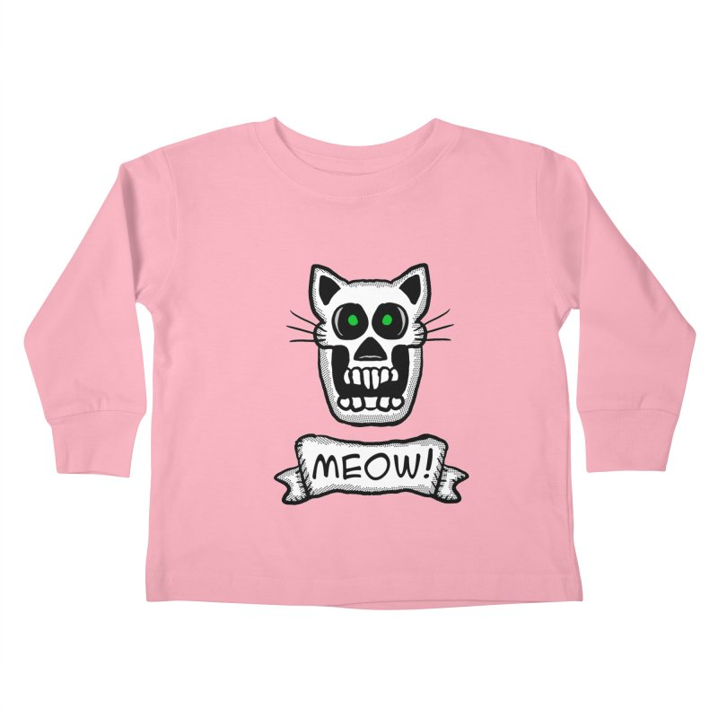 Cat Skull Kids Toddler Longsleeve T-Shirt by ericallen's Artist Shop