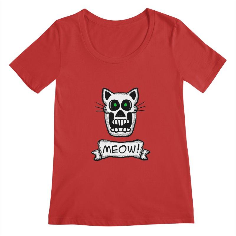Cat Skull Women's Scoopneck by ericallen's Artist Shop