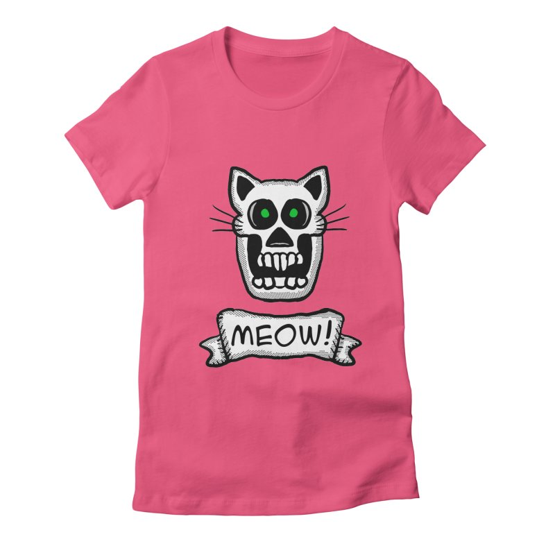 Cat Skull in Women's Fitted T-Shirt Fuchsia by ericallen's Artist Shop