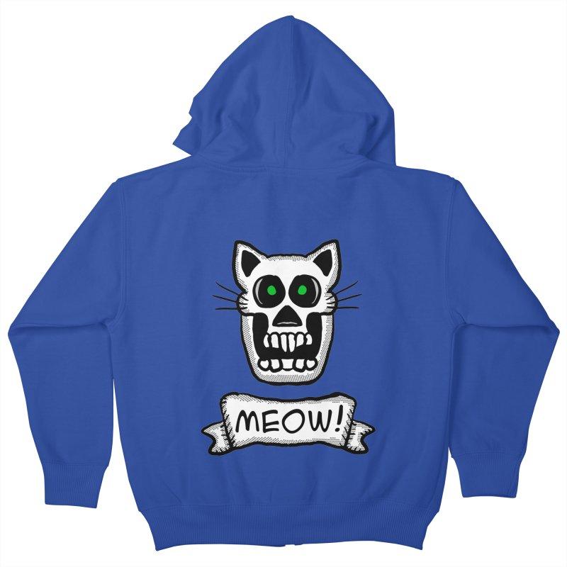 Cat Skull Kids Zip-Up Hoody by ericallen's Artist Shop