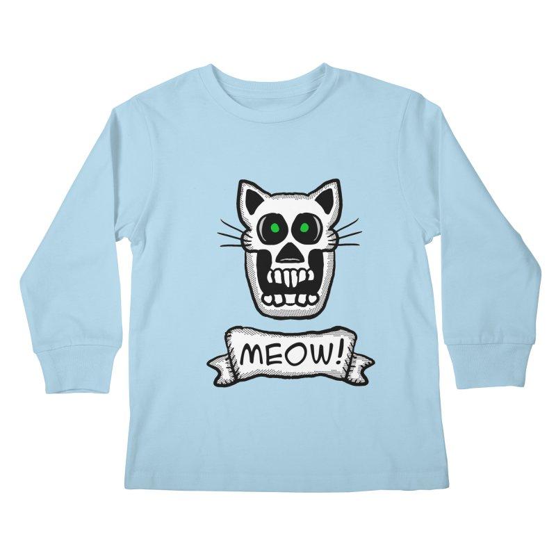 Cat Skull Kids Longsleeve T-Shirt by ericallen's Artist Shop