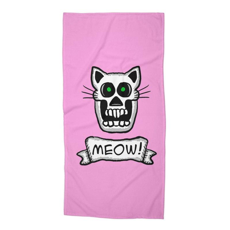 Cat Skull Accessories Beach Towel by ericallen's Artist Shop
