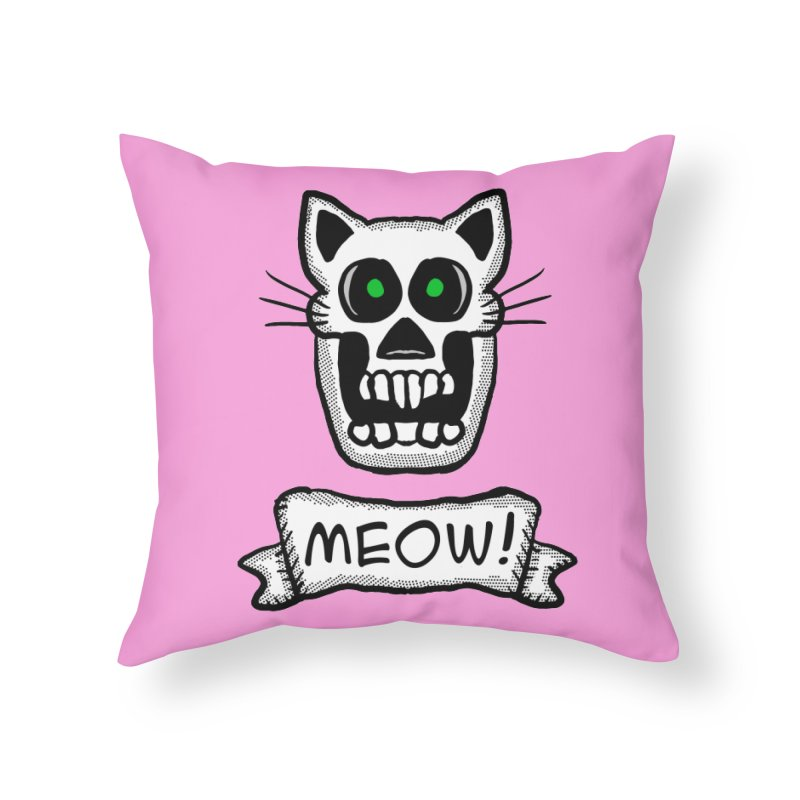 Cat Skull Home Throw Pillow by ericallen's Artist Shop