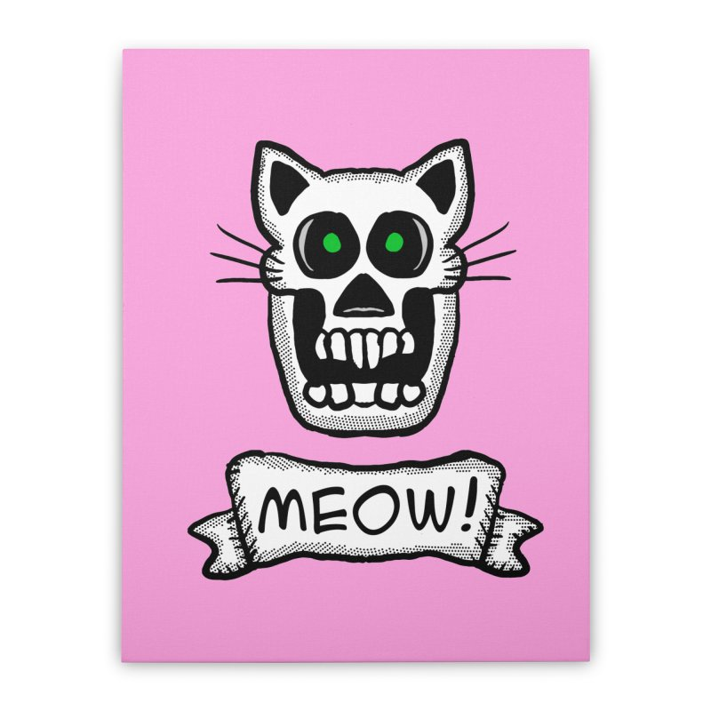 Cat Skull Home Stretched Canvas by ericallen's Artist Shop
