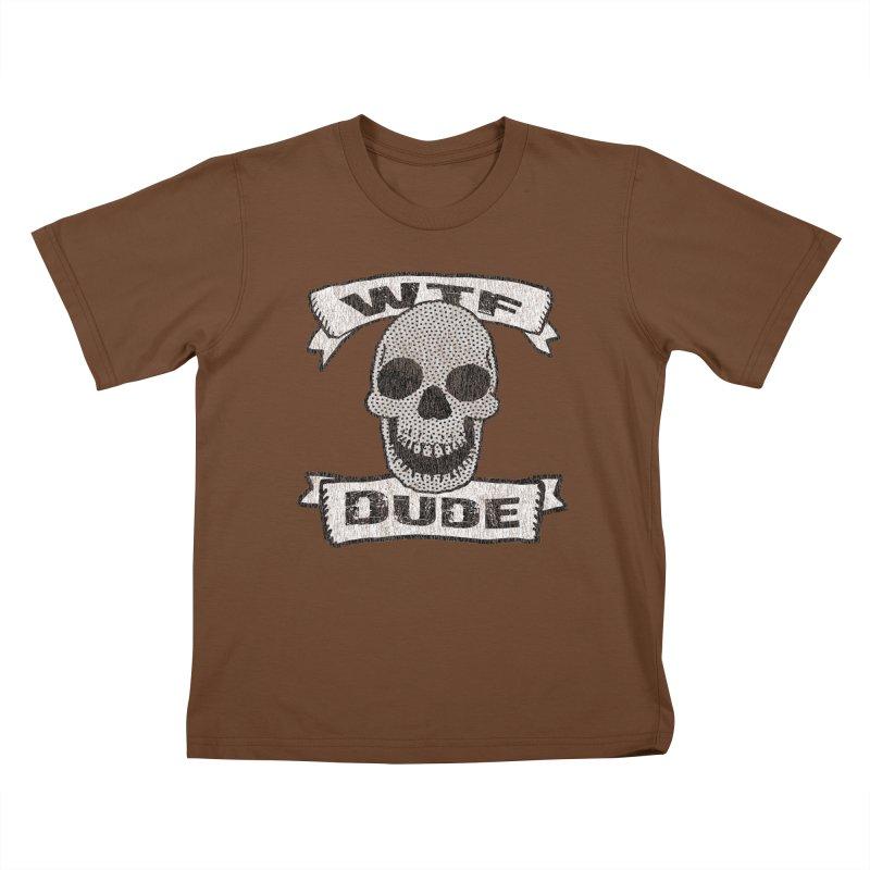 Vintage WTF Dude Skull Kids T-shirt by ericallen's Artist Shop