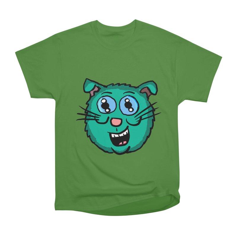 Green Cartoon Cat head Men's Classic T-Shirt by ericallen's Artist Shop