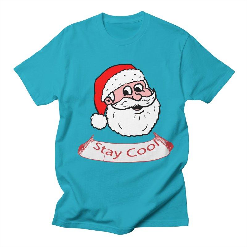 Stay Cool Santa in Men's T-Shirt Cyan by ericallen's Artist Shop