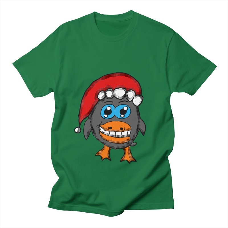 Christmas Penguin in Men's T-Shirt Kelly Green by ericallen's Artist Shop