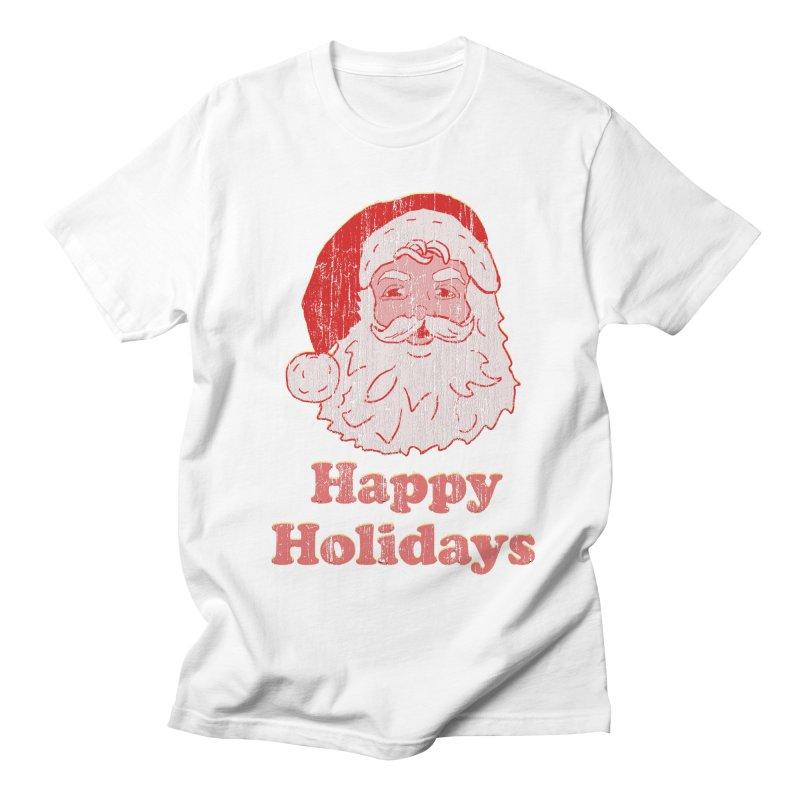 Vintage Happy Holidays Santa in Men's T-Shirt White by ericallen's Artist Shop