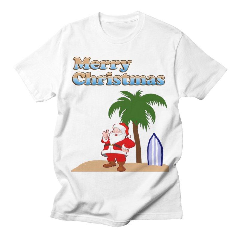 Beach Santa in Men's T-Shirt White by ericallen's Artist Shop