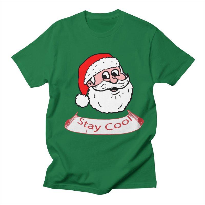 Stay Cool Santa head in Men's T-Shirt Kelly Green by ericallen's Artist Shop