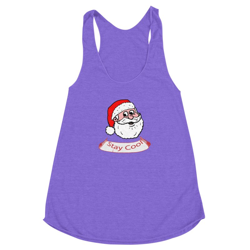 Stay Cool Santa head Women's Racerback Triblend Tank by ericallen's Artist Shop