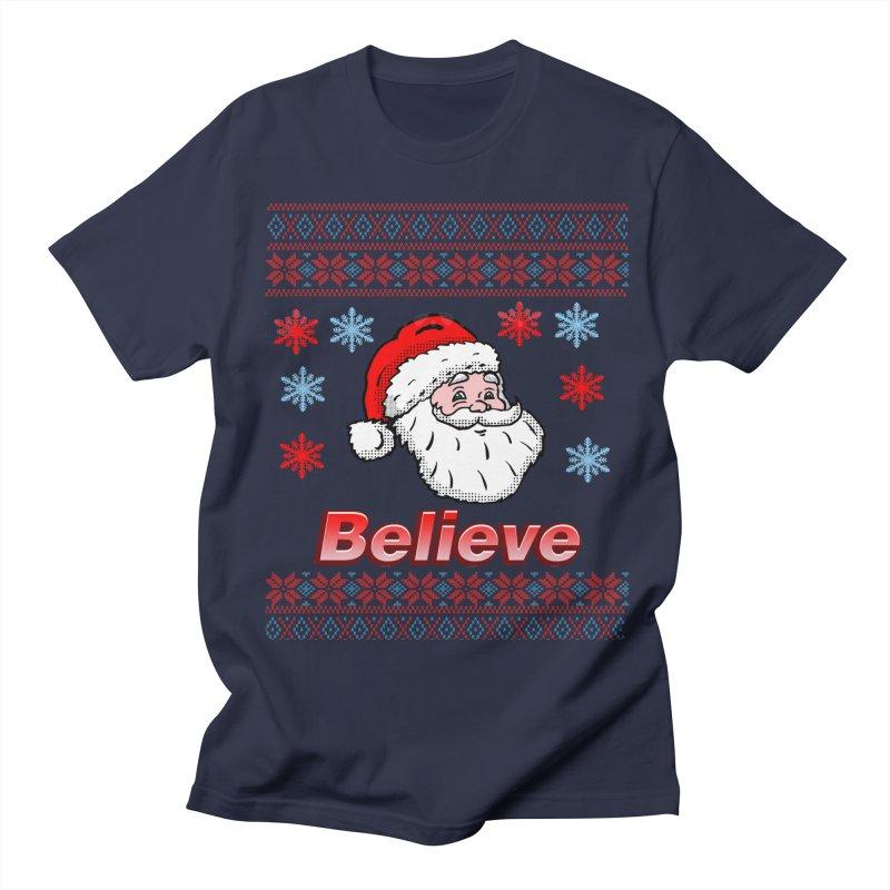 Believe Santa Christmas Sweater Design in Men's T-Shirt Navy by ericallen's Artist Shop