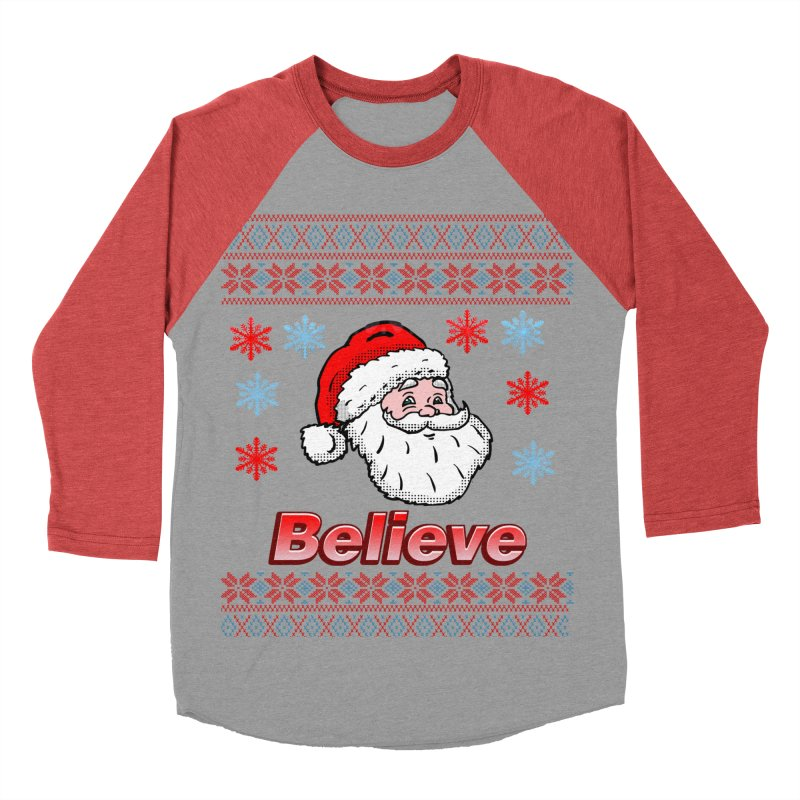 Believe Santa Christmas Sweater Design Men's Baseball Triblend T-Shirt by ericallen's Artist Shop