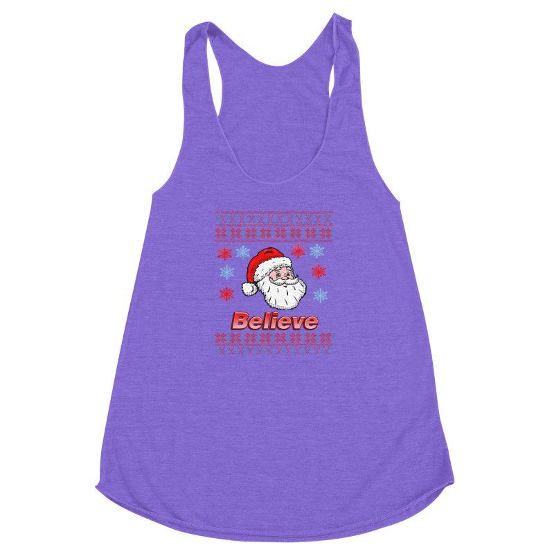 Believe Santa Christmas Sweater Design Women's Racerback Triblend Tank by ericallen's Artist Shop