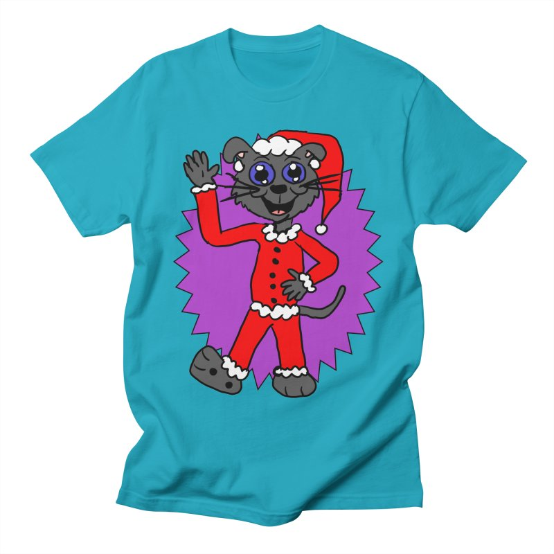 Santa Kitty in Men's T-Shirt Cyan by ericallen's Artist Shop