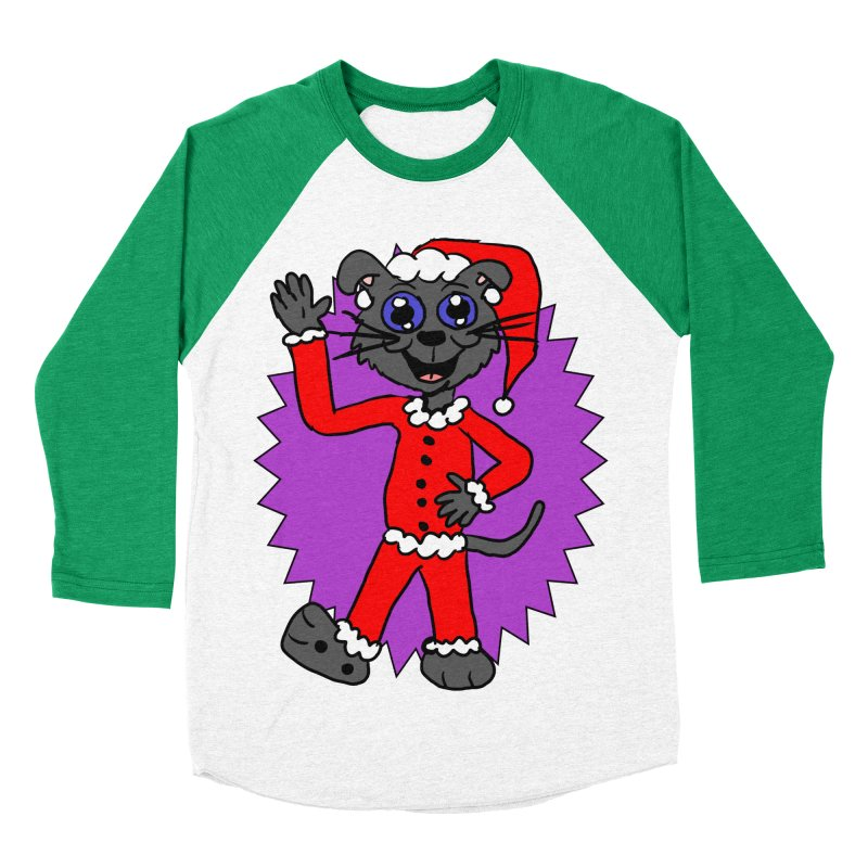 Santa Kitty Women's Baseball Triblend T-Shirt by ericallen's Artist Shop