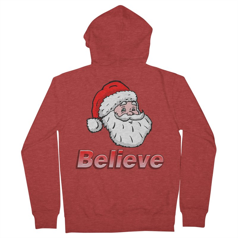 Believe Santa Women's Zip-Up Hoody by ericallen's Artist Shop