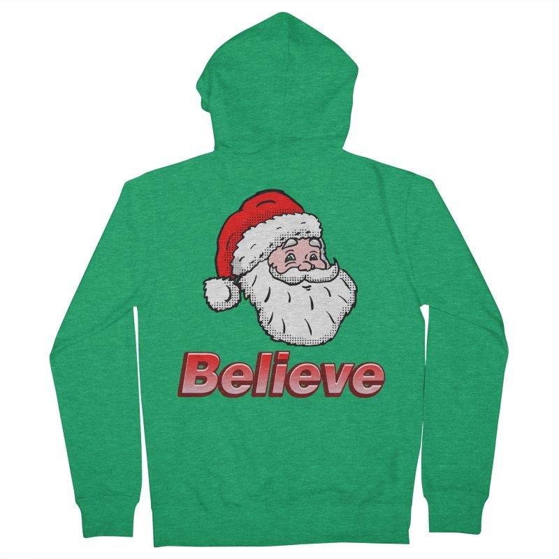 Believe Santa Men's Zip-Up Hoody by ericallen's Artist Shop