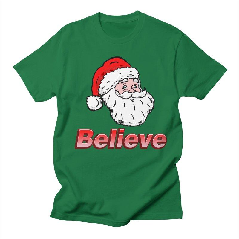 Believe Santa in Men's T-Shirt Kelly Green by ericallen's Artist Shop