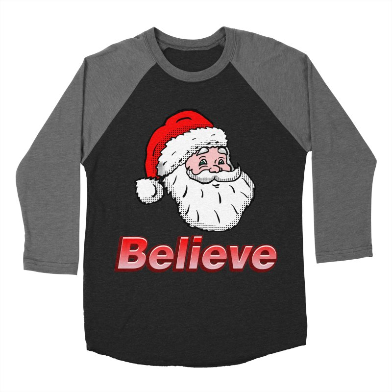 Believe Santa Women's Baseball Triblend T-Shirt by ericallen's Artist Shop