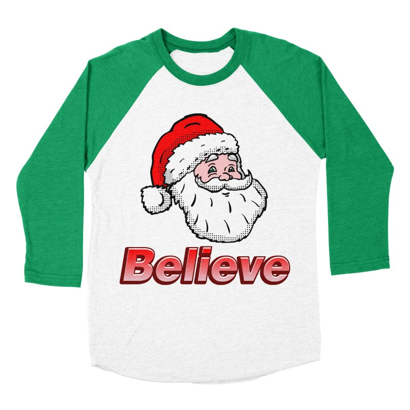 Believe Santa Men's Baseball Triblend T-Shirt by ericallen's Artist Shop