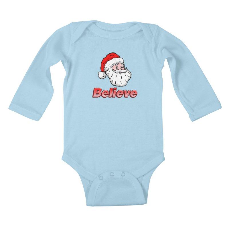 Believe Santa Kids Baby Longsleeve Bodysuit by ericallen's Artist Shop