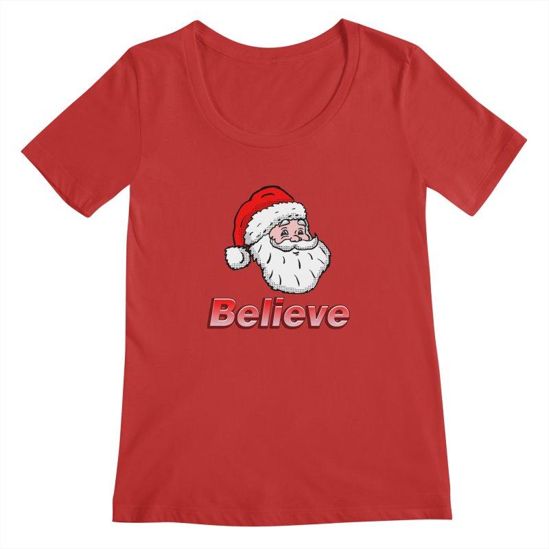 Believe Santa Women's Scoopneck by ericallen's Artist Shop