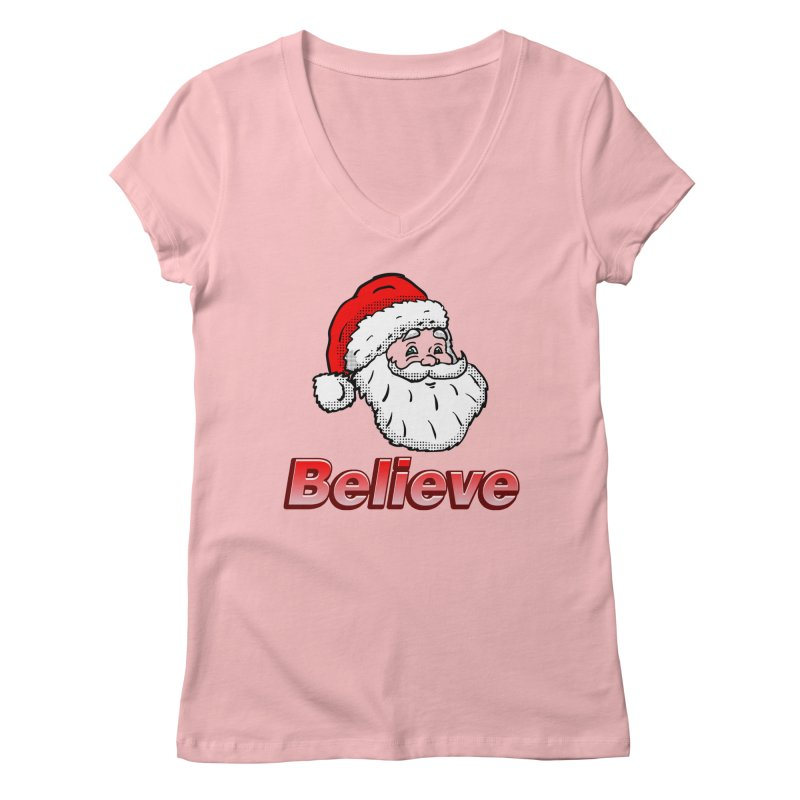 Believe Santa Women's V-Neck by ericallen's Artist Shop