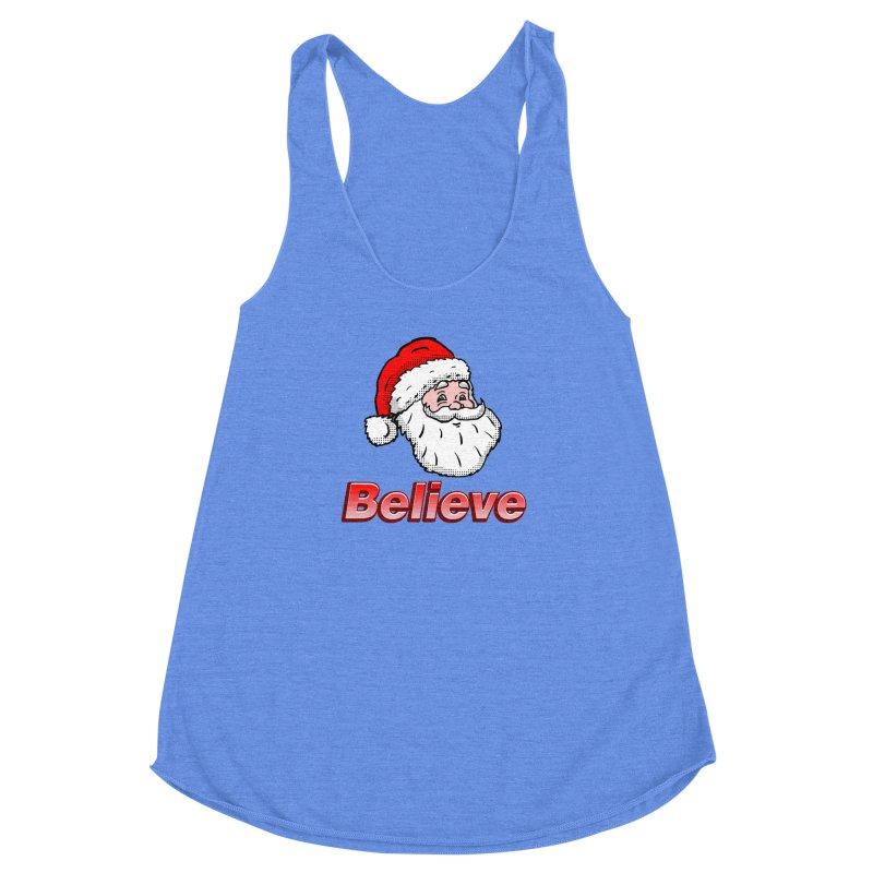 Believe Santa Women's Racerback Triblend Tank by ericallen's Artist Shop