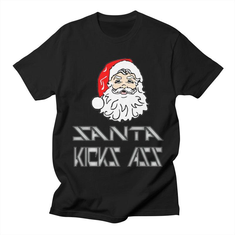Santa Kicks Ass! in Men's T-Shirt Black by ericallen's Artist Shop