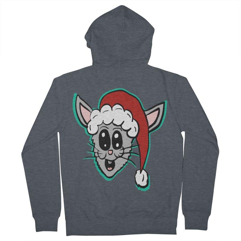 Cartoon Christmas Bunny Head Men's Zip-Up Hoody by ericallen's Artist Shop