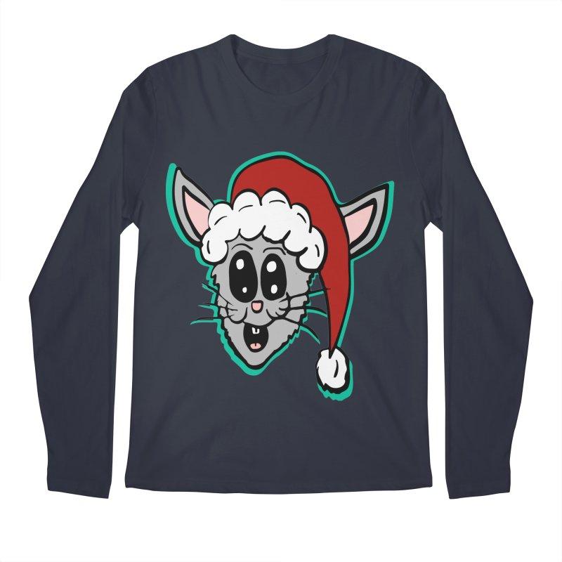 Cartoon Christmas Bunny Head Men's Longsleeve T-Shirt by ericallen's Artist Shop