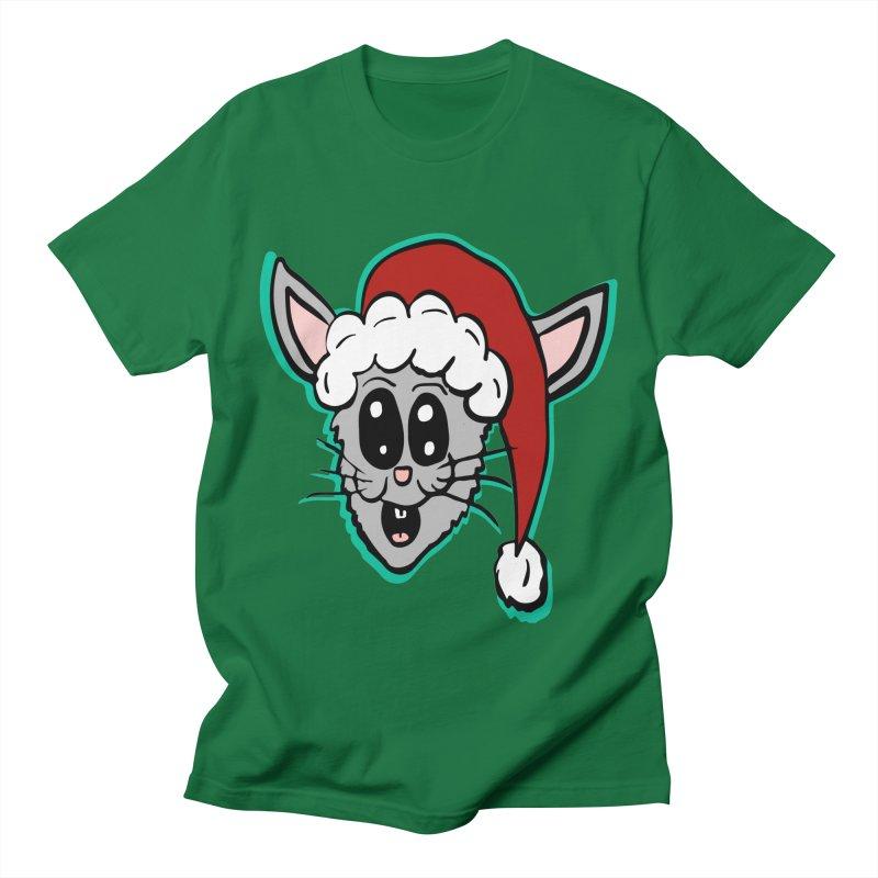 Cartoon Christmas Bunny Head in Men's T-Shirt Kelly Green by ericallen's Artist Shop