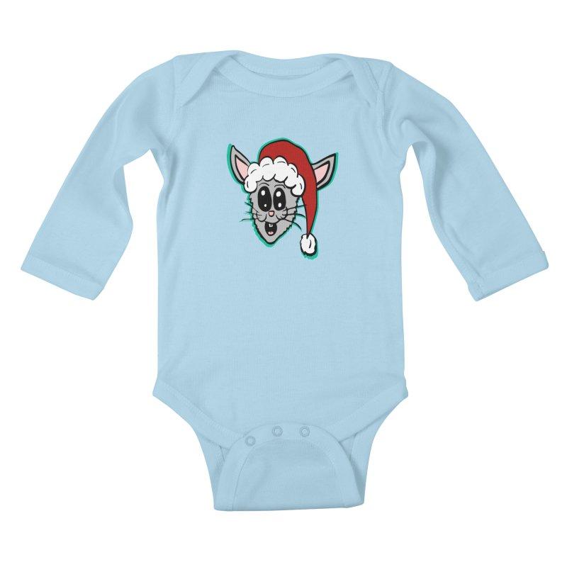 Cartoon Christmas Bunny Head Kids Baby Longsleeve Bodysuit by ericallen's Artist Shop