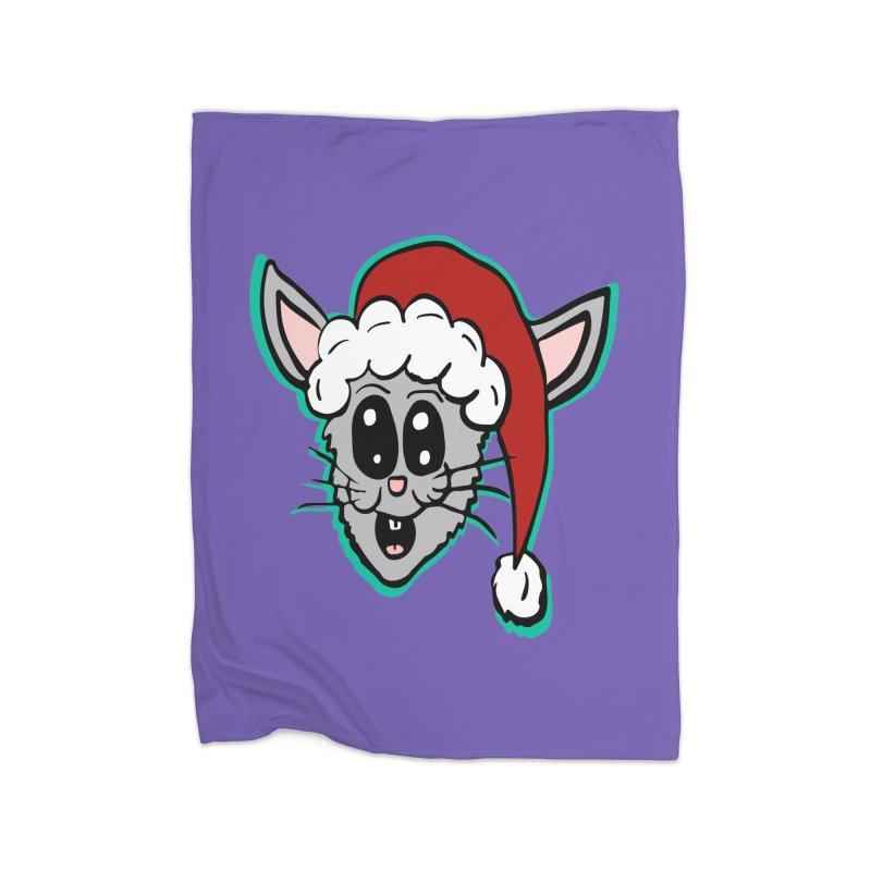 Cartoon Christmas Bunny Head Home Blanket by ericallen's Artist Shop