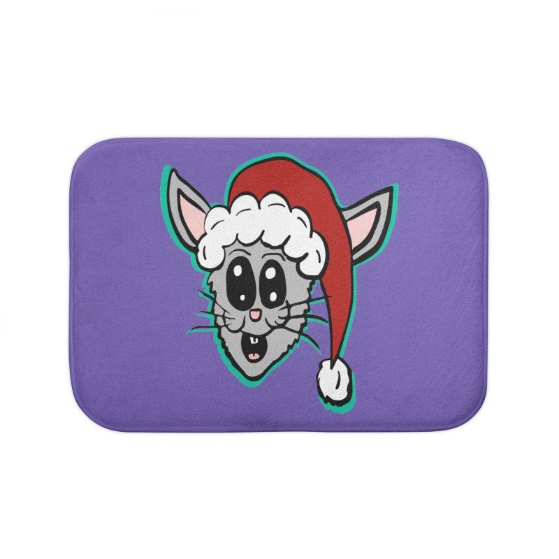 Cartoon Christmas Bunny Head Home Bath Mat by ericallen's Artist Shop