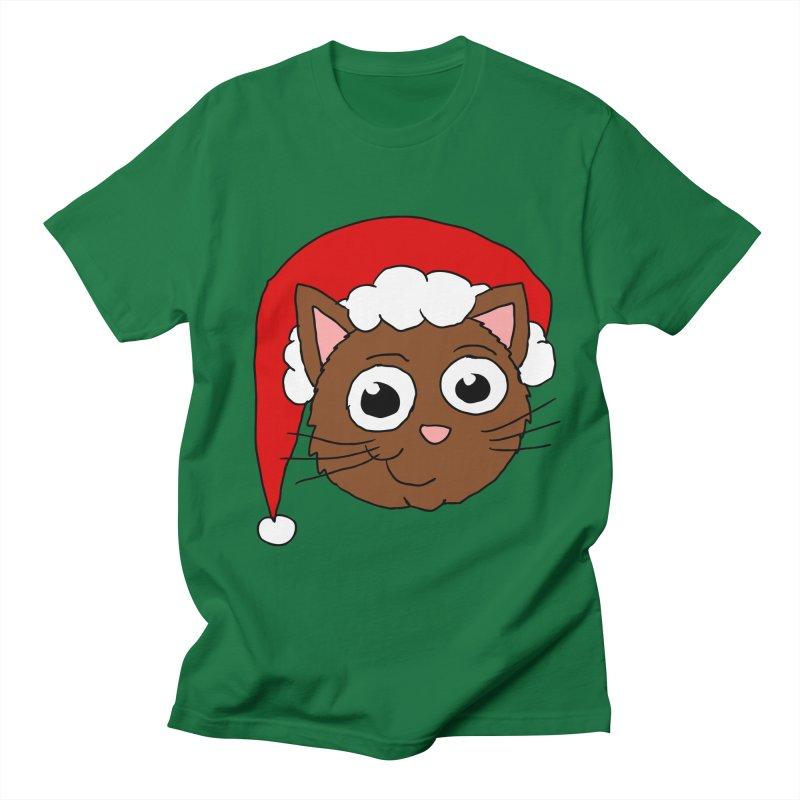 Cute Xmas Kitty in Men's T-Shirt Kelly Green by ericallen's Artist Shop