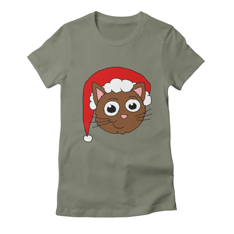 Cute Xmas Kitty Women's Fitted T-Shirt by ericallen's Artist Shop