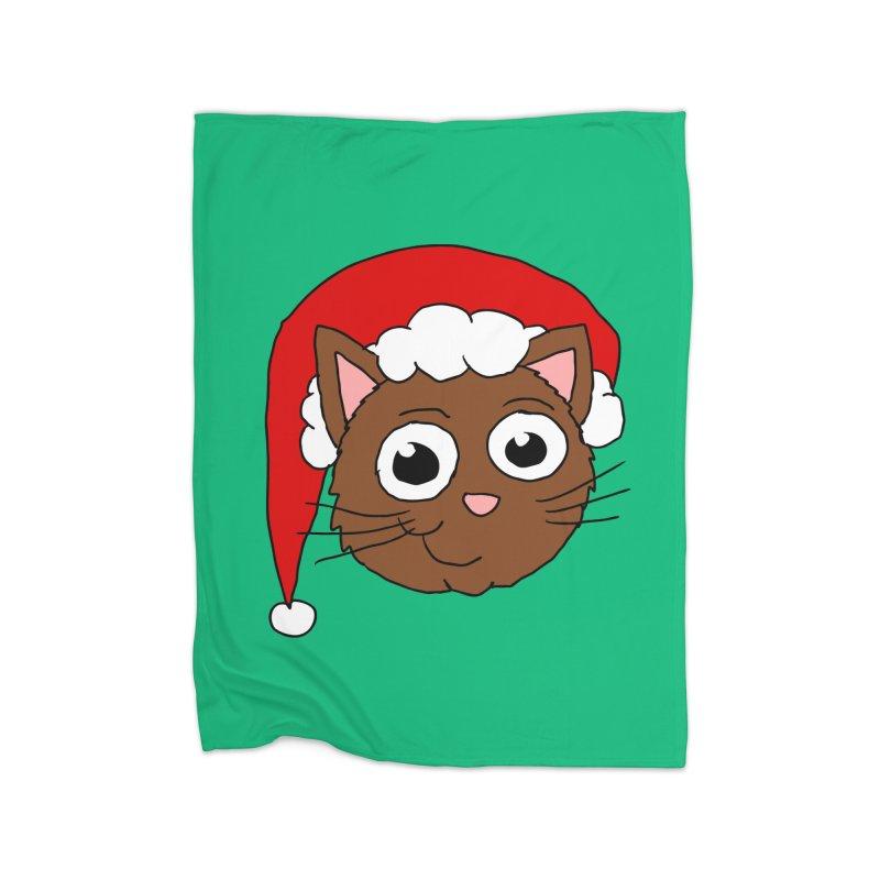 Cute Xmas Kitty Home Blanket by ericallen's Artist Shop